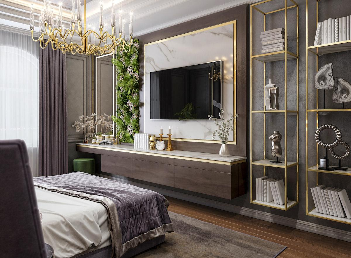 Cozy main bedroom made in mixed style of modern and Barocco accessories