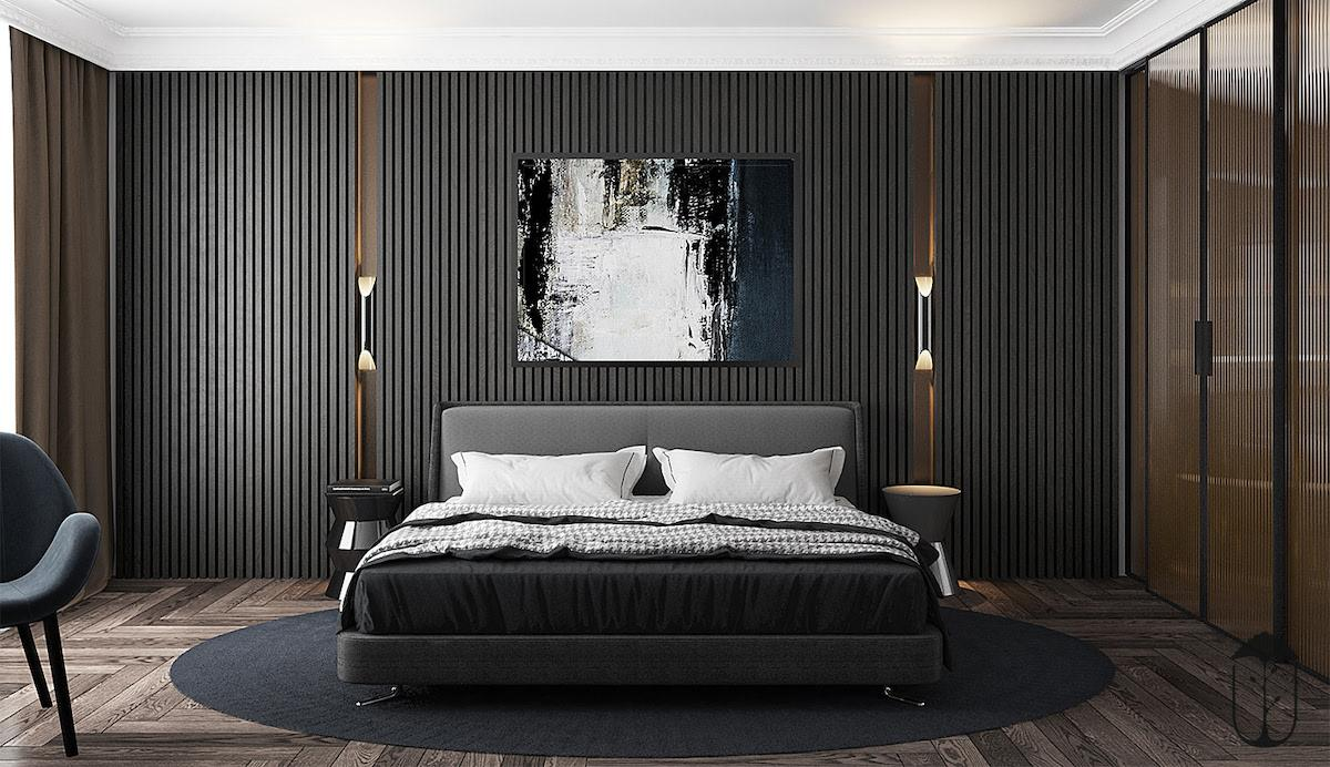 Spacious and stylish bedroom for connoisseurs of minimalistic design and dark tones