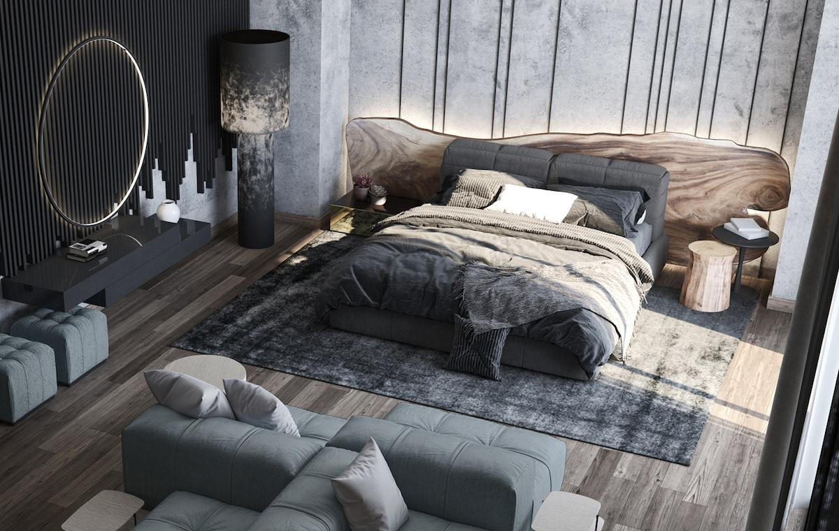 Stylish bedroom made in modern style with predomination of grey and warm colours