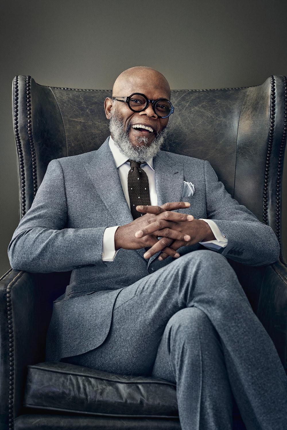 Samuel L. Jackson in serious fashionable photoshoot with Tomo Brejc