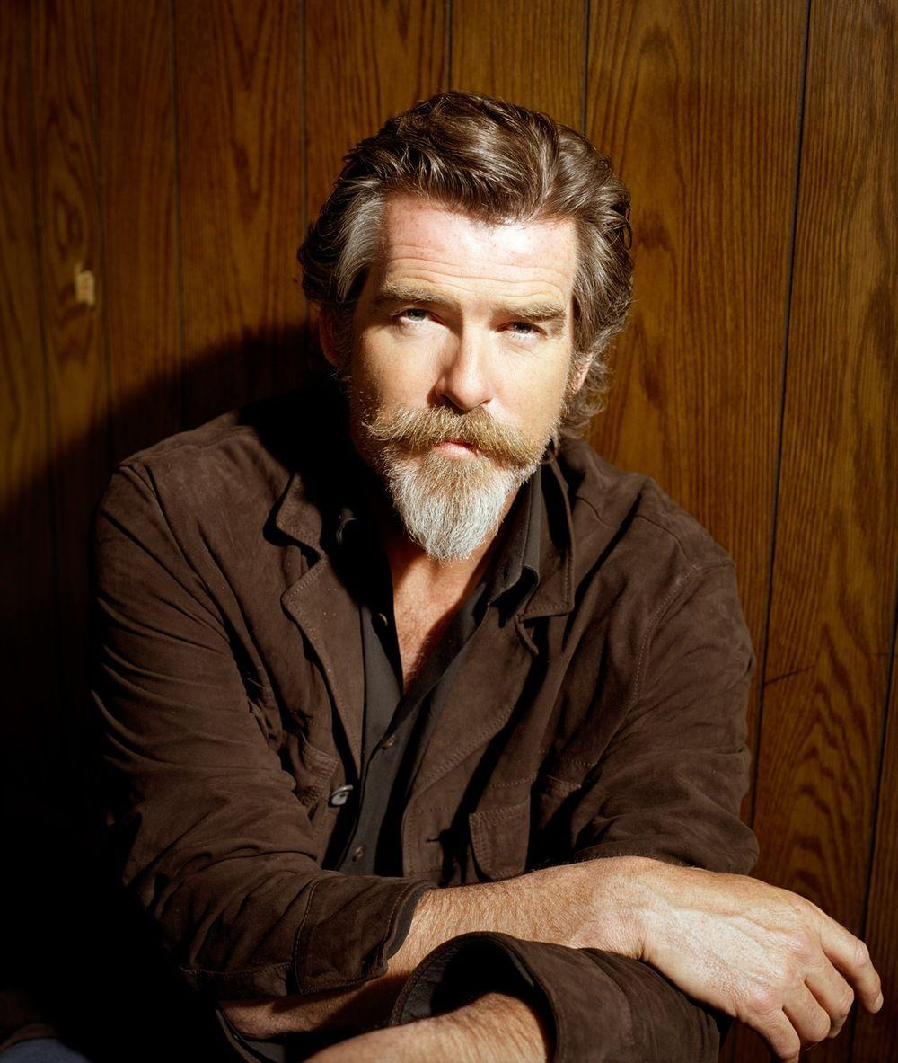 Pierce Brosnan elegant long beard style