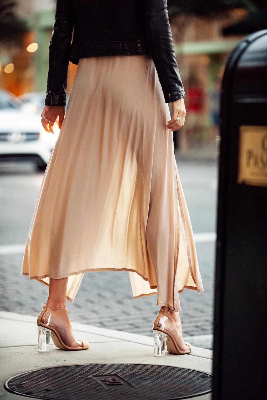 Light beige long skirt for spring-summer season