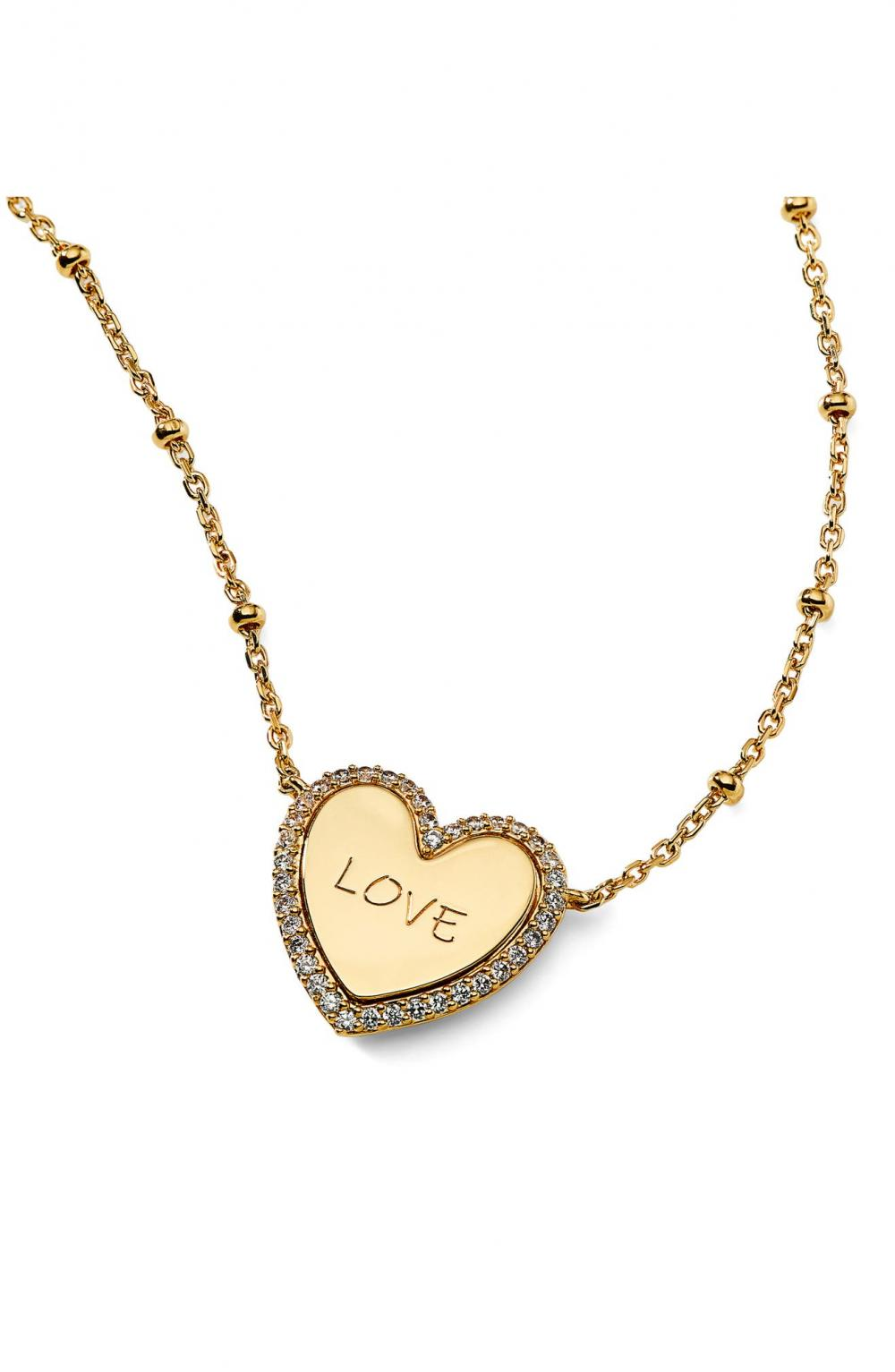 Love Engraved Heart Pendant Necklace