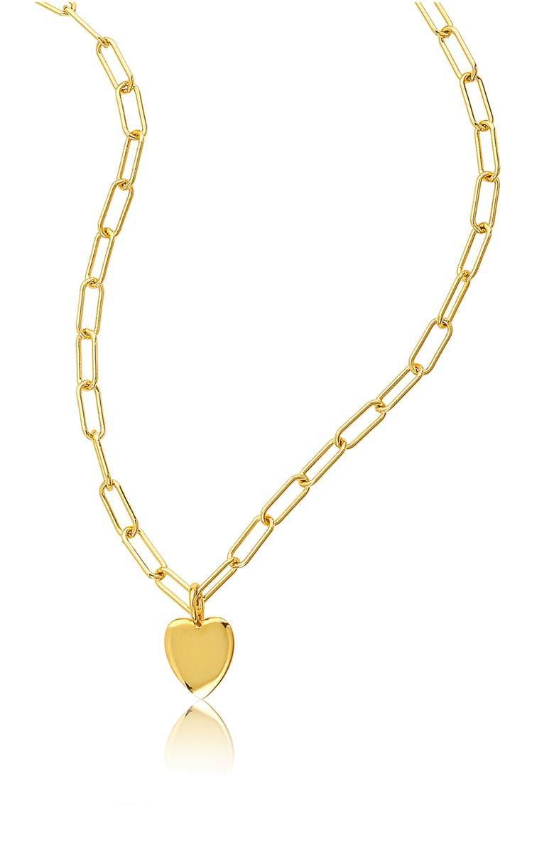 Paper Clip Chain Heart Pendant Necklace