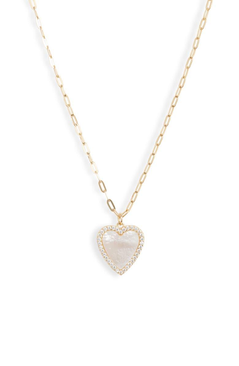 Argento Vivo Mother-of-Pearl Heart Pendant Necklace