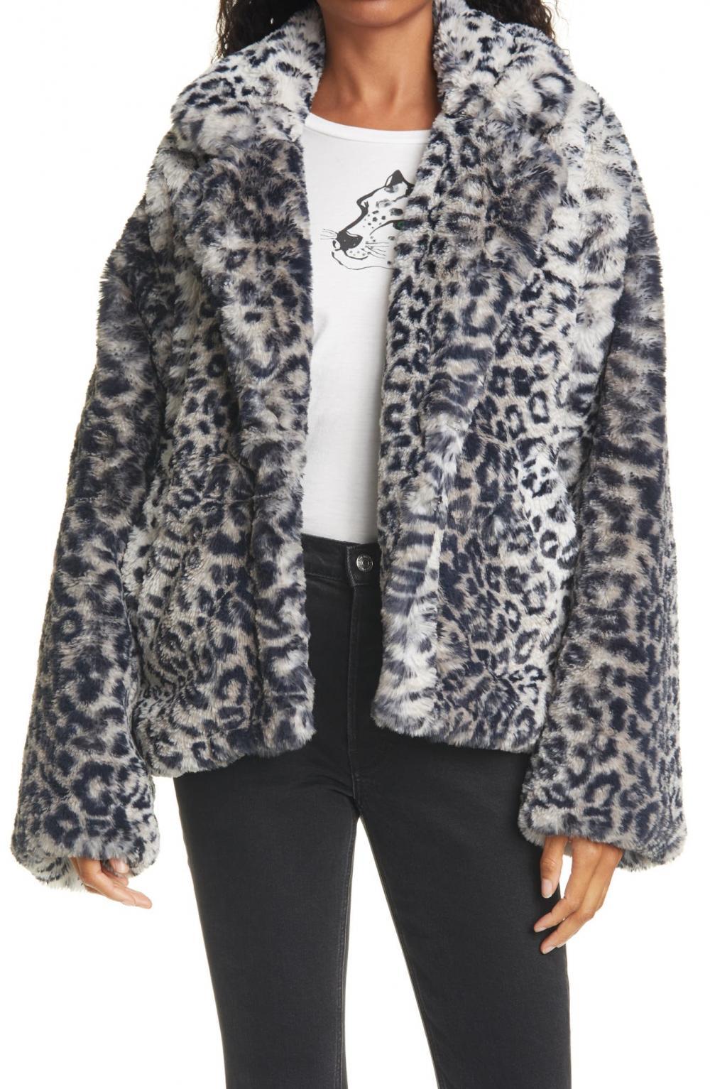 Fur Sure Leopard Faux Fur Jacket