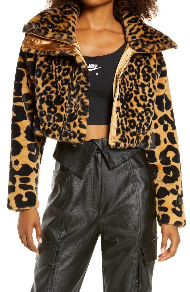 Court-to-Runway Animal Print Convertible Faux Fur Jacket