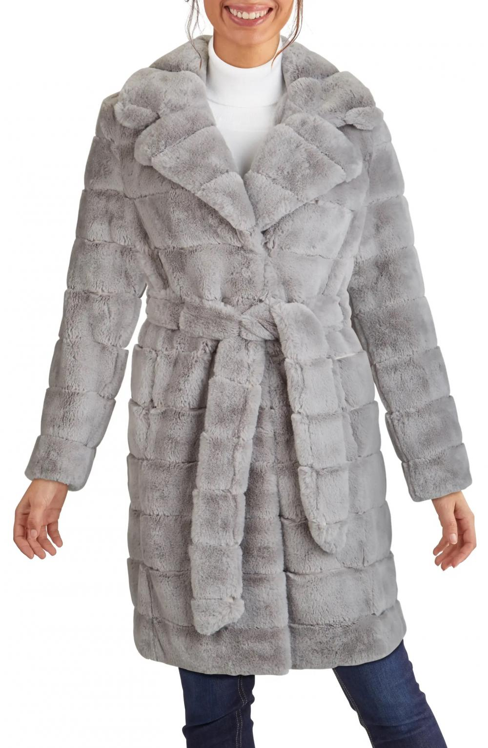 Grooved Faux Fur Belted Coat