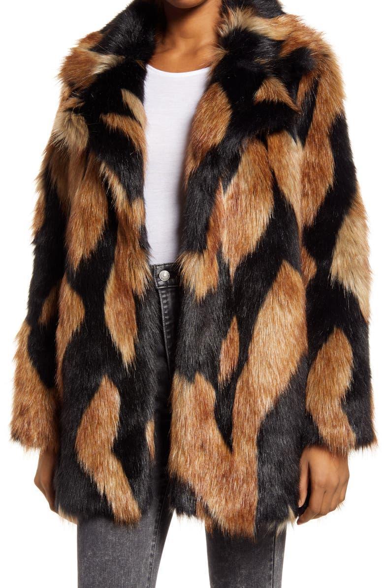 Chevron Oversize Faux Fur Coat