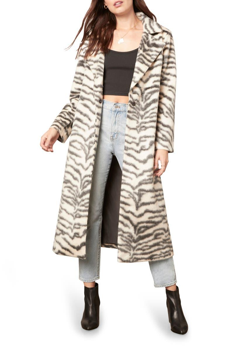 Zebra Print Faux Fur Cake Coat