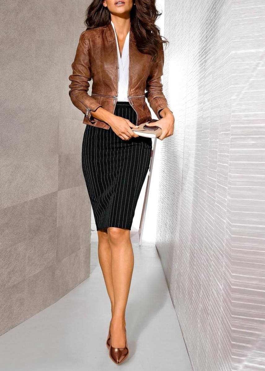 Beautiful business look with a leather jacket and  pencil skirt