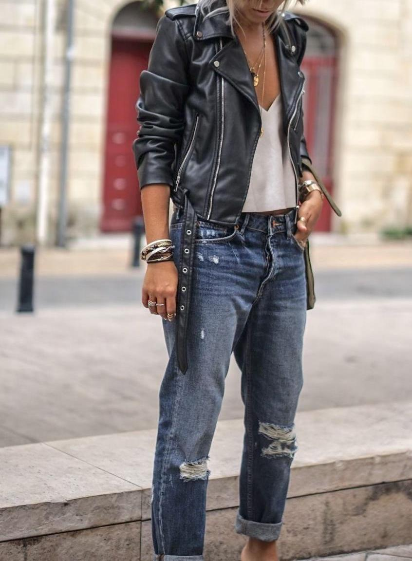 A leather jacket is great for street style too