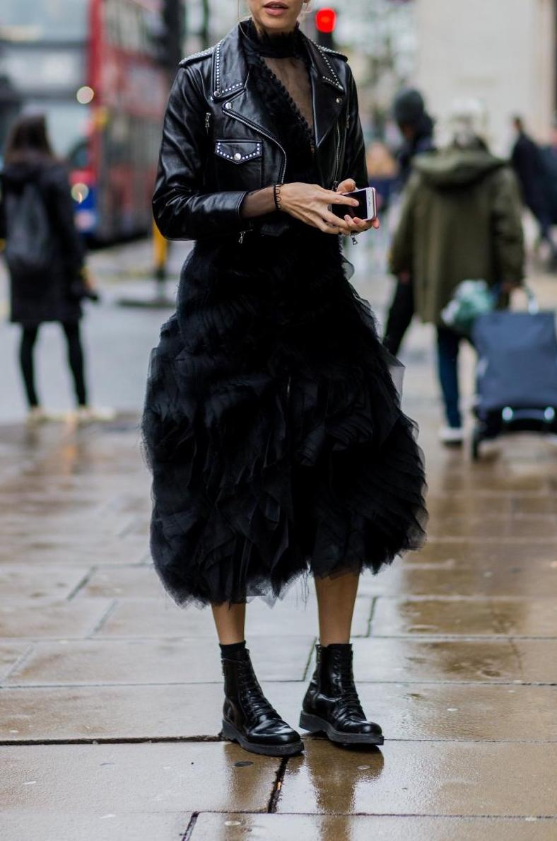 Want to look unique? A leather biker jacket looks great over a fluffy dress.