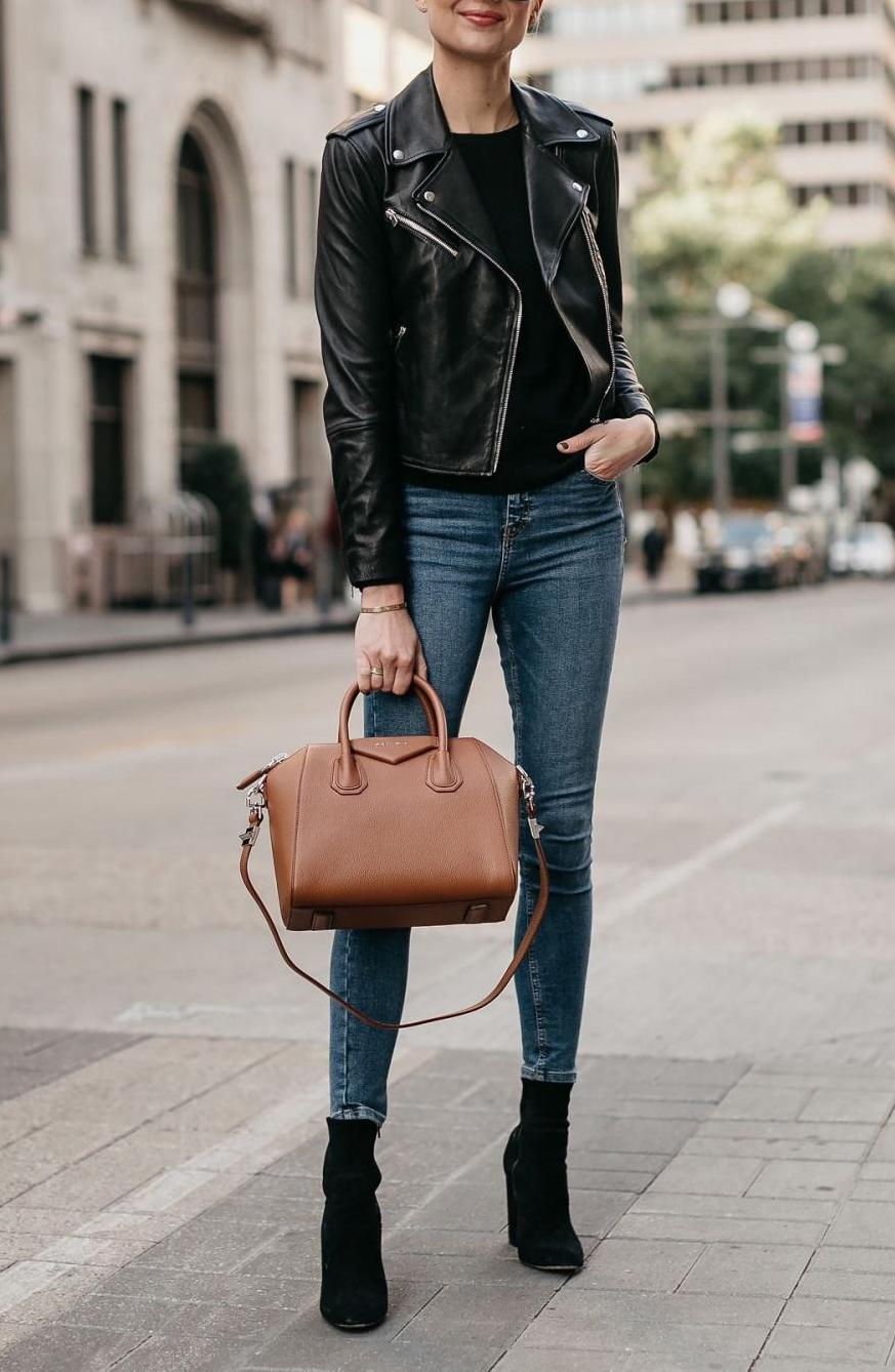 A black leather jacket is perfect in business-casual style for cold weather