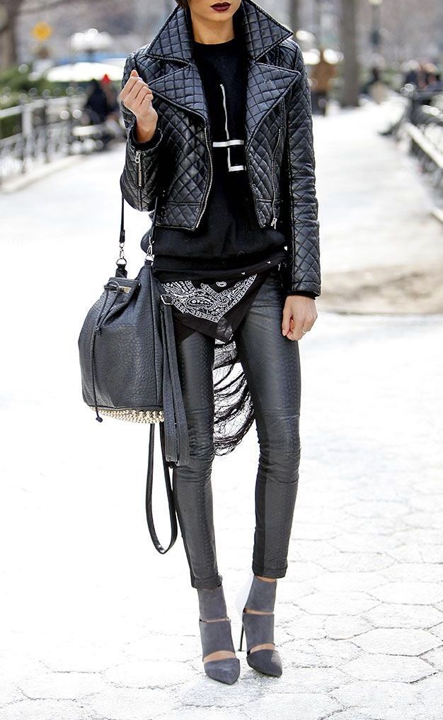 A leather jacket and leather pants are the perfect match