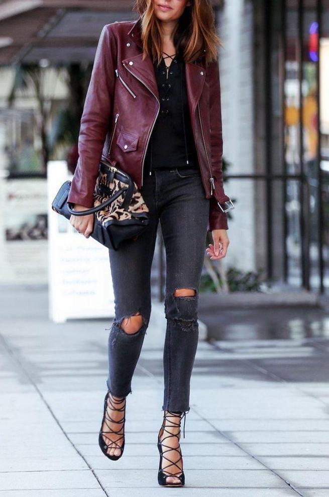 Burgundy leather jacket - a new popular trend in women's fashion