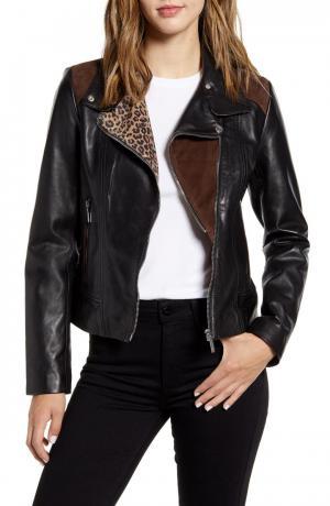 Mixed Media Leather Moto Jacket