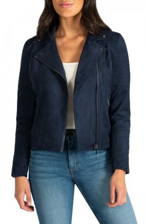 Quilted Panel Faux Suede Moto Jacket