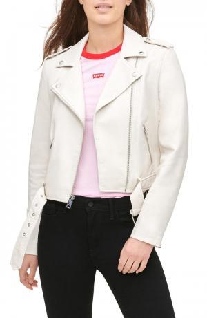 Faux Leather Fashion Belted Moto Jacket