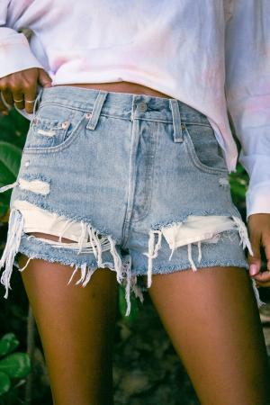 501 Medium Wash High-Rise Distressed Denim Shorts