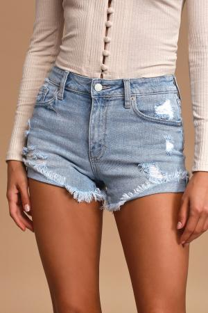 Light Wash Distressed Denim Cutoff Shorts