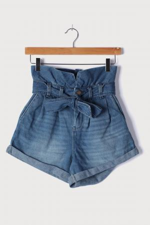 Dancing Queen Medium Wash Denim Paper Bag Waist Shorts