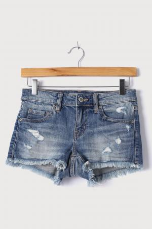Medium Wash Distressed Low-Rise Denim Cutoff Shorts