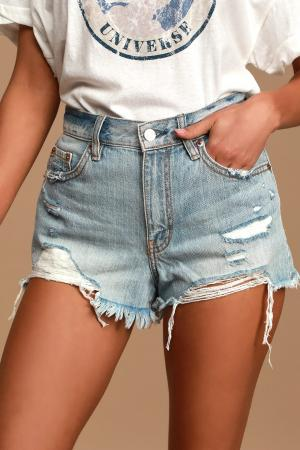 Troublemaker Light Wash Distressed High-Rise Denim Cutoff Shorts