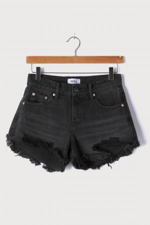 Gigi Washed Black Denim Distressed Cutoff Shorts