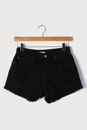 Drift Away Black Denim Cutoff Shorts