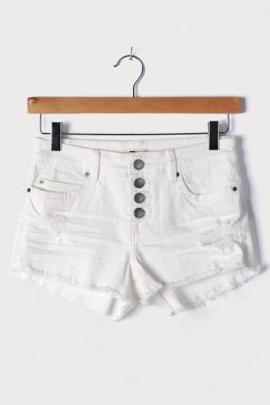 Buttoned Up White Denim Distressed Shorts