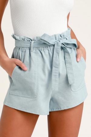 Harper Blue Chambray Paper Bag Waist Shorts