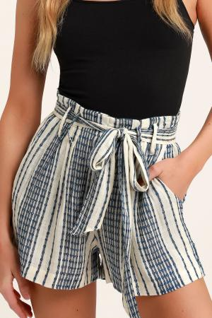 Laguna Blue Striped High Waist Shorts