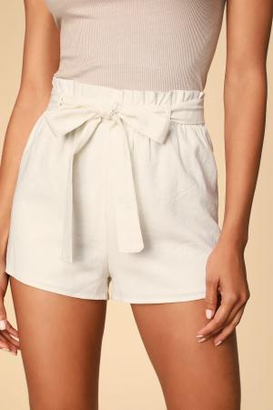 Jemima White Paper Bag Waist Shorts