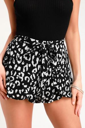 Yana Black and White Leopard Print Tie-Front Shorts