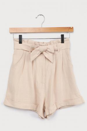 Daily Adventures Beige Paperbag Waist Shorts