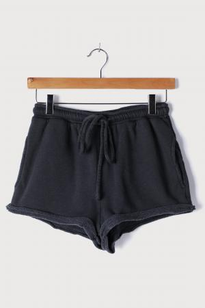 Easy to Chill Washed Black Fleece Drawstring Lounge Shorts