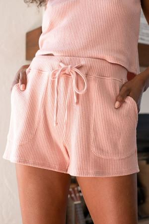 Living Leisurely Blush Ribbed Knit Drawstring Shorts