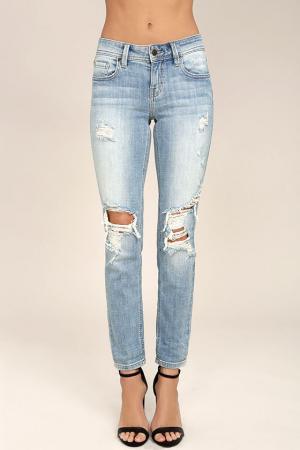 Mia Light Wash Distressed Skinny Jeans