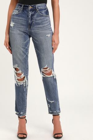 Presley '90s Roller Medium Wash Distressed Jeans