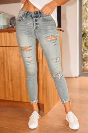 Clara Light Wash Distressed High Rise Skinny Jeans