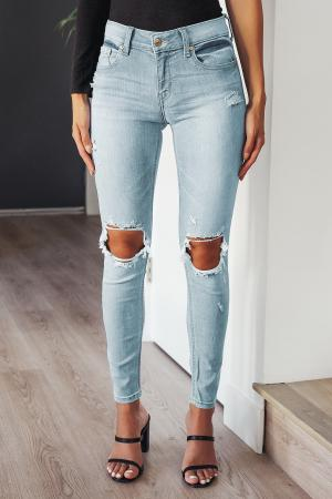Jude Light Blue Distressed Mid-Rise Skinny Ankle Jeans