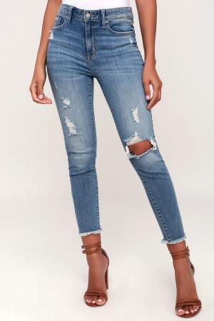 Clara Medium Blue High-Waisted Distressed Skinny Jeans