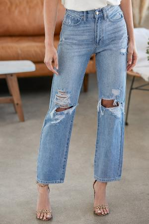 You're Lookin' Good Light Wash Distressed High Rise Dad Jeans