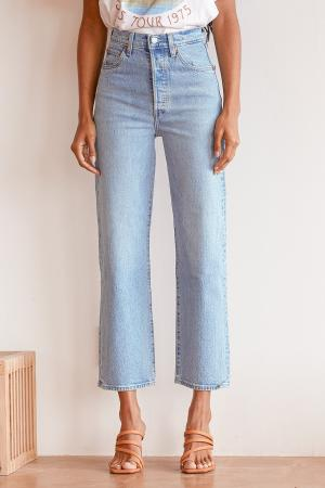 Ribcage Light Wash Straight Leg Ankle Jeans