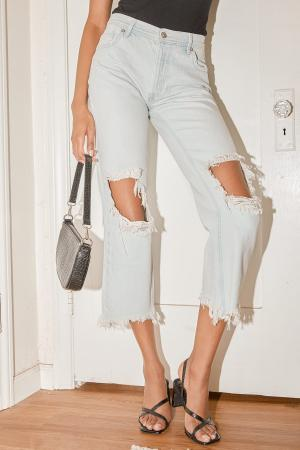 Maggie Light Blue Mid-Rise Distressed Jeans
