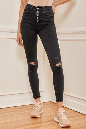 Sabrina Washed Black High Rise Distressed Super Skinny Jeans