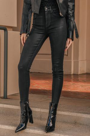 Aline Black Coated High Rise Denim Skinny Jeans