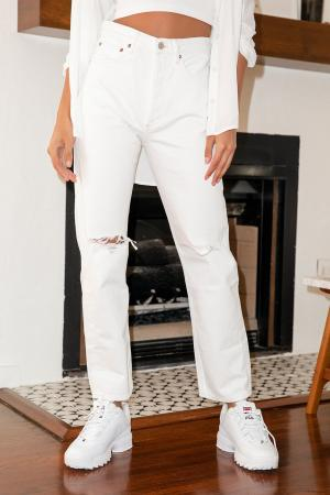 90s Mid Rise White Denim Loose Fit Distressed Jeans
