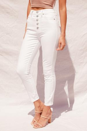 Kendall White Ultra High Rise Cropped Skinny Jeans